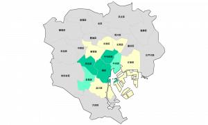 都道府県別、市区町村別で地図を色分け、色塗りする